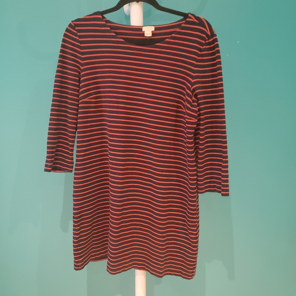 J. Crew Blue Red Striped Cotton Long Sleeve Dress